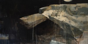 Ashley  Wood -  <strong>Happiness 3</strong> (2012<strong style = 'color:#635a27'></strong>)<bR /> oil and acrylic on linen,   36 x 72 inches  (91.44 x 182.88 cm)