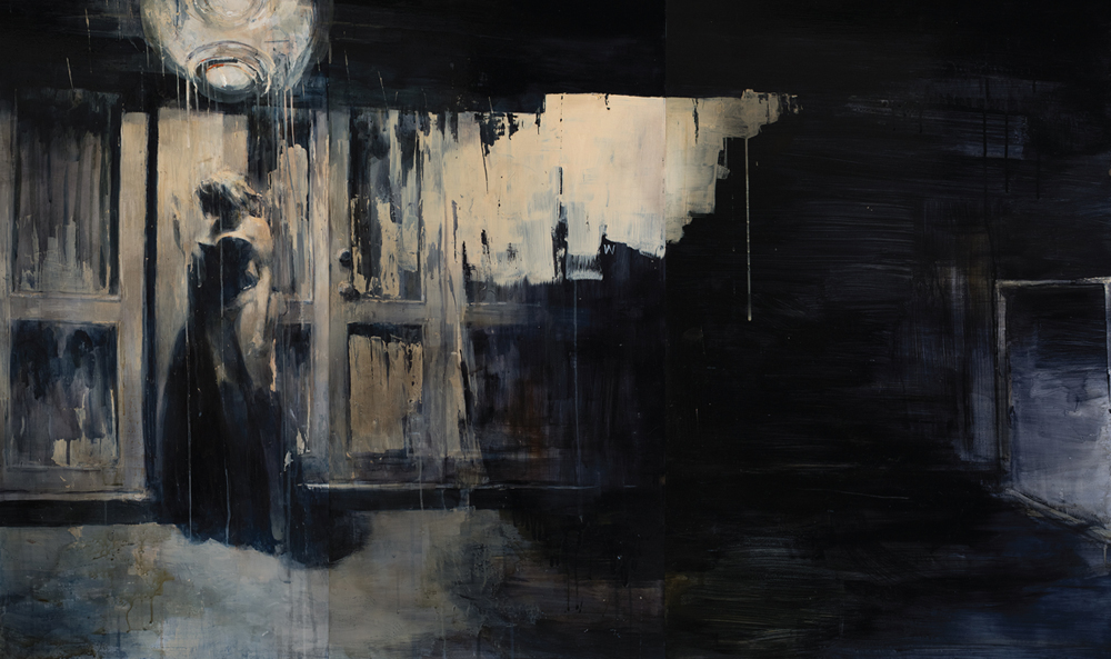 Ashley  Wood -  <strong>Happiness 7</strong> (2012<strong style = 'color:#635a27'></strong>)<bR /> oil and acrylic on panel,   36 x 60 inches (91.44 x 152.4 cm)  38.75 x 62.625 x 2.25 inches, framed