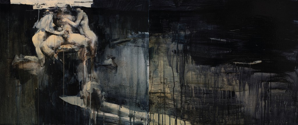 Ashley  Wood -  <strong>His Favorite Show</strong> (2012<strong style = 'color:#635a27'></strong>)<bR /> oil and acrylic on linen,   20 x 48 inches (50.8 x 121.92 cm)  22.375 x 50.375 x 2.25 inches, framed