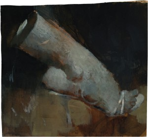 Ashley  Wood -  <strong>Ouch 2</strong> (2012<strong style = 'color:#635a27'></strong>)<bR /> oil and acrylic on panel,   11.75 x 12.5 inches (29.85 x 31.75 cm)  14.5 x 15.5 x 2.25 inches, framed