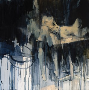 Ashley  Wood -  <strong>Surgery 1</strong> (2012<strong style = 'color:#635a27'></strong>)<bR /> oil and acrylic on linen,   24 x 24 inches (60.96 x 60.96 cm)  26.5 x 26.5 x 2.25 inches, framed