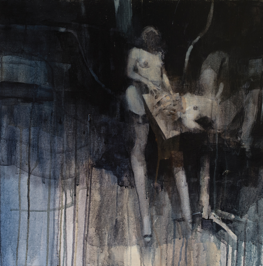 Ashley  Wood -  <strong>Surgery 2</strong> (2012<strong style = 'color:#635a27'></strong>)<bR /> oil and acrylic on linen,   24 x 24 inches (60.96 x 60.96 cm)  26.5 x 26.5 x 2.25 inches, framed