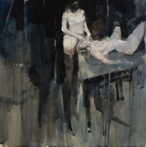 Ashley  Wood -  <strong>Surgery 3</strong> (2012<strong style = 'color:#635a27'></strong>)<bR /> oil and acrylic on linen,   18 x 18 inches (45.72 x 45.72 cm)  20.5 x 29.5 x 2.25 inches, framed