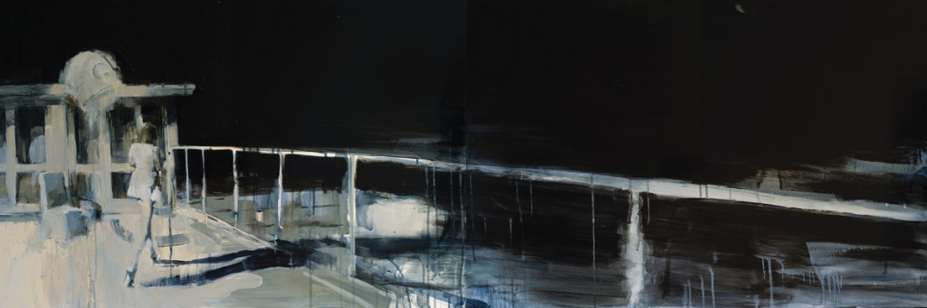 Ashley  Wood -  <strong>The Other Side</strong> (2012<strong style = 'color:#635a27'></strong>)<bR /> oil and acrylic on panel,   24 x 72 inches (60.96 x 182.88 cm)  26.75 x 74.75 x 2.25 inches, framed