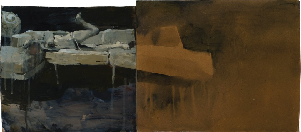 Ashley  Wood -  <strong>The Passport</strong> (2012<strong style = 'color:#635a27'></strong>)<bR /> oil and acrylic on panel,   10.875 x 24.25 inches (27.62 x 61.6 cm)  13.75 x 27 x 2.25 inches, framed