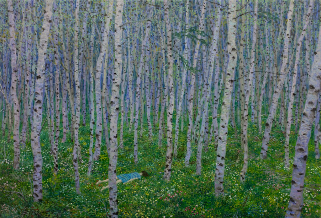 Aron  Wiesenfeld -  <strong>Aspens</strong> (2014<strong style = 'color:#635a27'></strong>)<bR /> oil on linen,   19.5 x 29.5 inches  (49.53 x 74.93 cm)