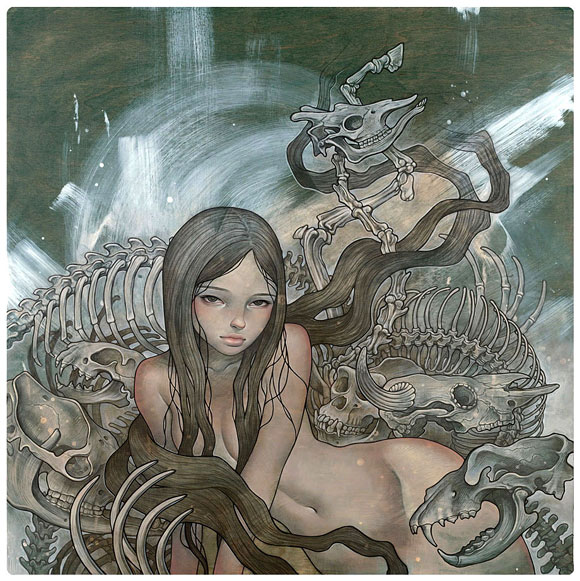 Audrey  Kawasaki -  <strong>Charlotte</strong> (<strong style = 'color:#635a27'></strong>)<bR /> giclée print on archival paper,   image size : 17.375 x 17.625 inches  paper size : 17.5 x 17.75 inches  frame size : 21.75 x 21.75 x .75 inches,   S/N edition 1039 of 1160
