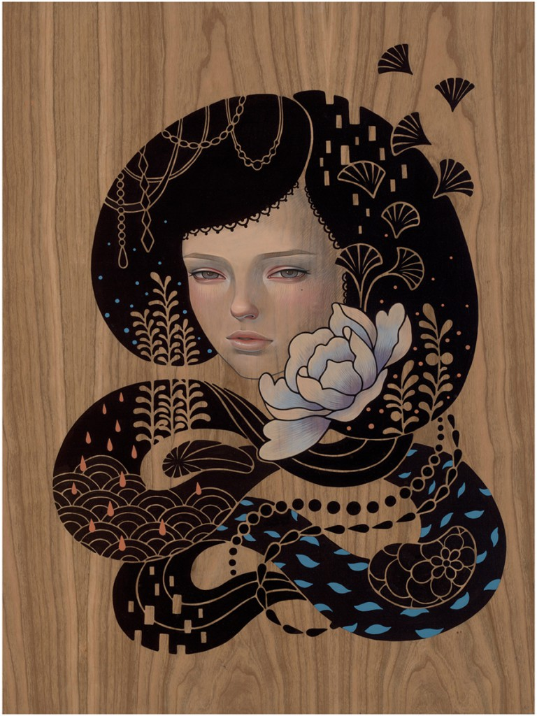 Audrey  Kawasaki -  <strong>Cocoon</strong> (2012<strong style = 'color:#635a27'></strong>)<bR /> oil, acrylic and graphite on wood panel,   24 x 18 inches  (60.96 x 45.72 cm)  28 x 22.5 x 1.5 inches, framed