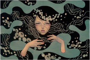 Audrey  Kawasaki -  <strong>Deep Waters</strong> (2012<strong style = 'color:#635a27'></strong>)<bR /> oil, acrylic and graphite on wood panel,   24 x 36 inches  (60.96 x 91.44 cm)  29.25 x 41.25 x 2 inches, framed