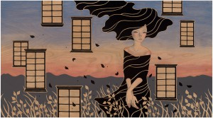 Audrey  Kawasaki -  <strong>Forget Me Not</strong> (2012<strong style = 'color:#635a27'></strong>)<bR /> oil, acrylic and graphite on wood panel,   20 x 36 inches  (50.8 x 91.44 cm)  25.25 x 41.25 x 2 inches, framed