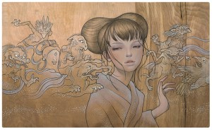 Audrey  Kawasaki -  <strong>Hyakki Yakou</strong> (<strong style = 'color:#635a27'></strong>)<bR /> gicl&amp;eacute;e print on archival paper,   image size : 13.125 x 21.875 inches  paper size : 14.125 x 22.875 inches  frame size : 18.25 x 27 x .75 inches,   S/N edition 974 of 1150