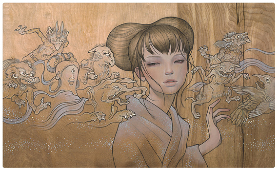 Audrey  Kawasaki -  <strong>Hyakki Yakou</strong> (<strong style = 'color:#635a27'></strong>)<bR /> giclée print on archival paper,   image size : 13.125 x 21.875 inches  paper size : 14.125 x 22.875 inches  frame size : 18.25 x 27 x .75 inches,   S/N edition 974 of 1150