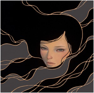 Audrey  Kawasaki -  <strong>Into</strong> (2012<strong style = 'color:#635a27'></strong>)<bR /> oil, acrylic and graphite on wood panel,   9 x 9 inches  (22.86 x 22.86 cm)  11.25 x 11.25 x 2 inches, framed