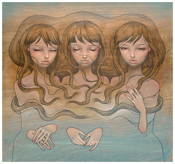 Audrey  Kawasaki -  <strong>Just Between Us</strong> (<strong style = 'color:#635a27'></strong>)<bR /> giclée print on archival paper,   image size : 17.875 x 19 inches  paper size : 18.375 x 19.5 inches  frame size : 22.5 x 23.5 x .75 inches,   S/N edition 6 of 10 AP