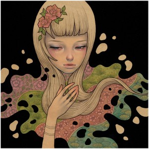 Audrey  Kawasaki -  <strong>Lost in Thought</strong> (2012<strong style = 'color:#635a27'></strong>)<bR /> oil, acrylic and graphite on wood panel,   9 x 9 inches  (22.86 x 22.86 cm)  11.25 x 11.25 x 2 inches, framed
