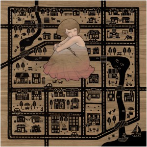 Audrey  Kawasaki -  <strong>Make Believe</strong> (2012<strong style = 'color:#635a27'></strong>)<bR /> oil, acrylic and graphite on wood panel,   24 x 24 inches  (60.96 x 60.96 cm)  29.25 x 29.25 x 2 inches, framed