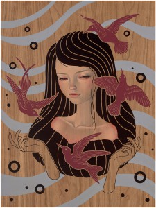 Audrey  Kawasaki -  <strong>May There Be</strong> (2012<strong style = 'color:#635a27'></strong>)<bR /> oil, acrylic and graphite on wood panel,   24 x 18 inches  (60.96 x 45.72 cm)  26.75 x 20.75 x 1.25 inches, framed