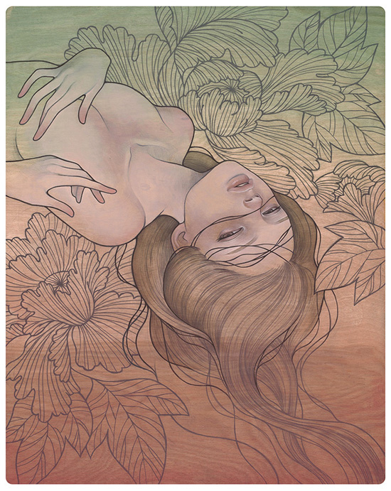 Audrey  Kawasaki -  <strong>Migawari</strong> (<strong style = 'color:#635a27'></strong>)<bR /> giclée print on smooth cotton rag paper,   image size : 19 x 15 inches  paper size : 20 x 16 inches  frame size : 24 x 20 x .75 inches,   S/N edition 1 of 10 AP