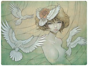Audrey  Kawasaki -  <strong>Overlap</strong> (<strong style = 'color:#635a27'></strong>)<bR /> gicl&amp;eacute;e print on archival paper,   image size : 16 x 21.5 inches  paper size : 17 x 23 inches  frame size : 21.25 x 27 x .75 inches,   S/N edition 28 of 200