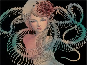 Audrey  Kawasaki -  <strong>Possessed</strong> (2012<strong style = 'color:#635a27'></strong>)<bR /> oil, acrylic and graphite on wood panel,   24 x 28 inches  (60.96 x 71.12 cm)  23.25 x 29.25 x 2 inches, framed