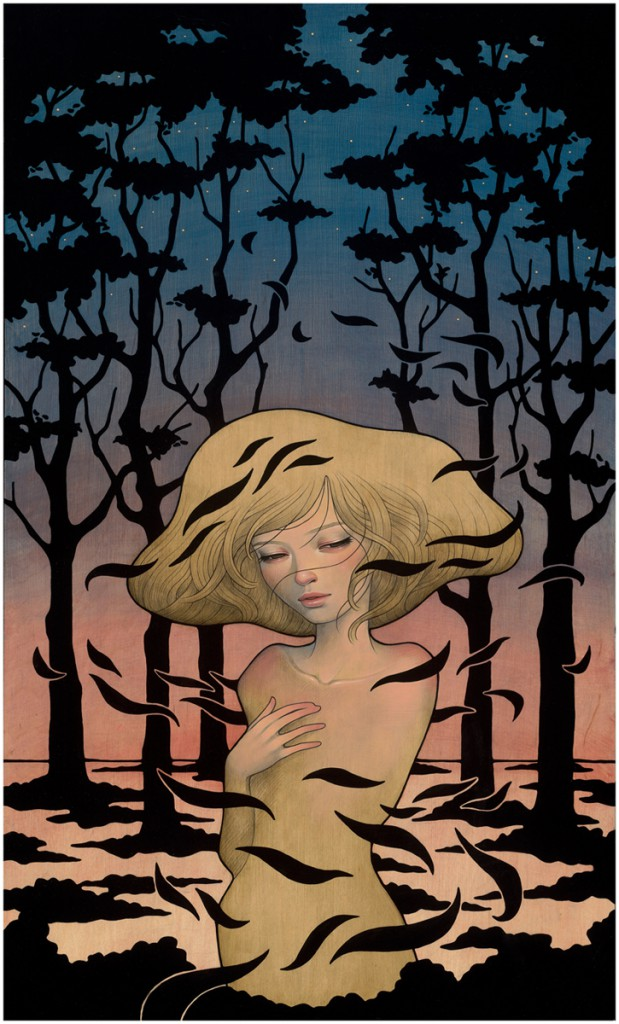 Audrey  Kawasaki -  <strong>Shadows</strong> (2012<strong style = 'color:#635a27'></strong>)<bR /> oil, acrylic and graphite on wood panel,   30 x 18 inches  (76.2 x 45.72 cm)  35.25 x 23.25 x 2 inches, framed