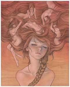 Audrey  Kawasaki -  <strong>She Entwined</strong> (<strong style = 'color:#635a27'></strong>)<bR /> gicl&amp;eacute;e print on smooth cotton rag paper,   image size : 15.875 x 19.875 inches  paper size : 16 x 20 inches  frame size : 24 x 30 x .75 inches,   S/N edition 8 of 10 AP