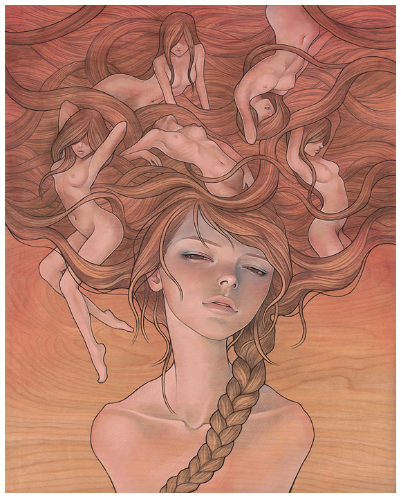 Audrey  Kawasaki -  <strong>She Entwined</strong> (<strong style = 'color:#635a27'></strong>)<bR /> giclée print on smooth cotton rag paper,   image size : 15.875 x 19.875 inches  paper size : 16 x 20 inches  frame size : 24 x 30 x .75 inches,   S/N edition 8 of 10 AP