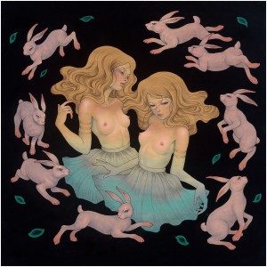 Audrey  Kawasaki -  <strong>Under the Full Moon</strong> (2012<strong style = 'color:#635a27'></strong>)<bR /> oil, acrylic and graphite on wood panel,   36 x 36 inches  (91.44 x 91.44 cm)  41.25 x 41.25 x 2 inches, framed