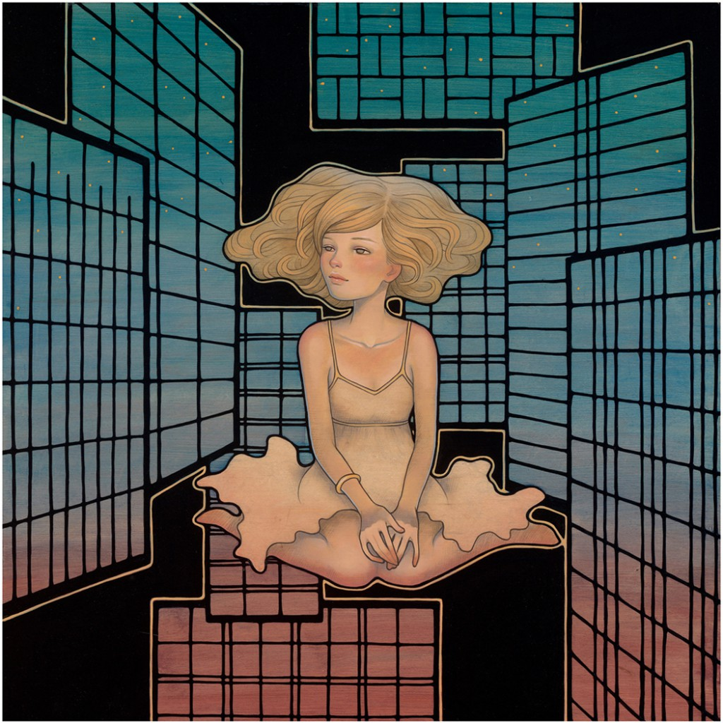 Audrey  Kawasaki -  <strong>Wandering Star</strong> (2012<strong style = 'color:#635a27'></strong>)<bR /> oil, acrylic and graphite on wood panel,   16 x 16 inches  (40.64 x 40.64 cm)  19 x 19 x 1.25 inches, framed