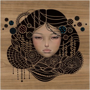 Audrey  Kawasaki -  <strong>You Come First</strong> (2012<strong style = 'color:#635a27'></strong>)<bR /> oil, acrylic and graphite on wood panel,   16 x 16 inches  (40.64 x 40.64 cm)  20.25 x 20.25 x 1.25 inches, framed