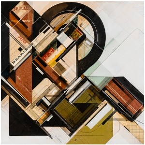 Augustine Kofie -  <strong>Bearings organized</strong> (2015<strong style = 'color:#635a27'></strong>)<bR /> found pressboard, acrylic, pencil, ball point pen, white-out and screen print on cradled birch panel finished in archival varnish and satin finish.  Framed in mahogany lattice and found vintage yardsticks,   24 x 24 x 1 5/8 inch  (60.96 x 60.96 x 4.12 cm)