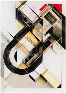 "Augustine Kofie -  <strong>Cono monaural offset</strong> (2015<strong style = 'color:#635a27'></strong>)<bR /> found pressboard, acrylic, pencil, ball point pen, white-out and screen print on cradled birch panel finished in archival varnish and satin finish.  Framed in mahogany lattice and found vintage yardsticks,   21 x 30 x 1 5/8 inch  (53.34 x 76.2 x 4.12 cm)<br type=""_moz"" />"