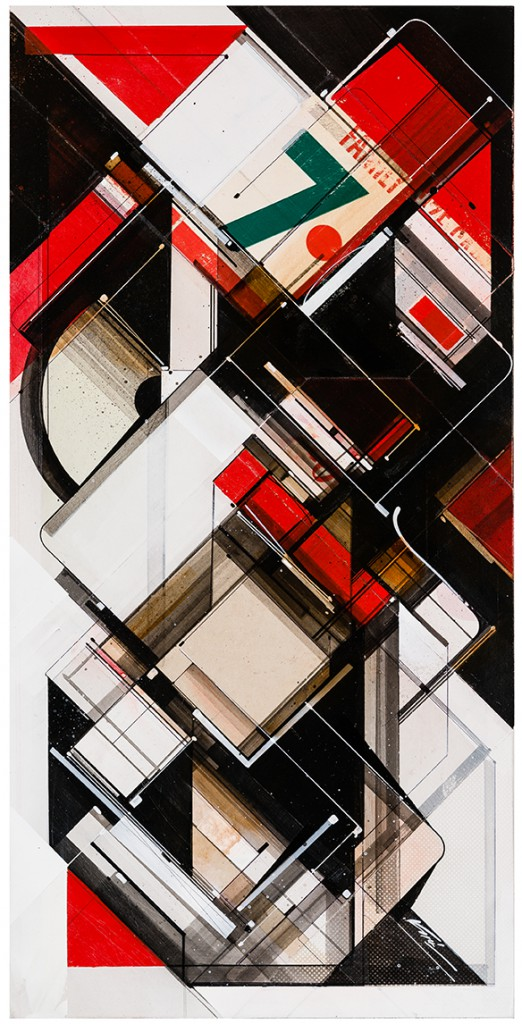 "Augustine Kofie -  <strong>Crimson family seven system</strong> (2015<strong style = 'color:#635a27'></strong>)<bR /> found pressboard, acrylic, pencil, ball point pen, white-out and screen print on cradled birch panel finished in archival varnish and satin finish.  Framed in mahogany lattice and found vintage yardsticks,   15 x 30 x 1 5/8 inch  (38.1 x 76.2 x 4.12 cm)<br type=""_moz"" />"