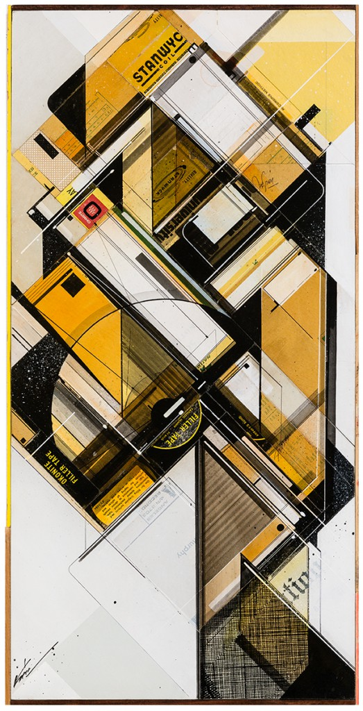 "Augustine Kofie -  <strong>Golden filler tape system</strong> (2015<strong style = 'color:#635a27'></strong>)<bR /> found pressboard, acrylic, pencil, ball point pen, white-out and screen print on cradled birch panel finished in archival varnish and satin finish.  Framed in mahogany lattice and found vintage yardsticks,   15 x 30 x 1 5/8 inch  (38.1 x 76.2 x 4.12 cm)<br type=""_moz"" />"