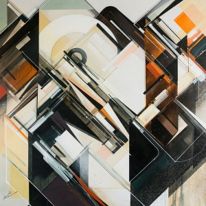 Augustine Kofie -  <strong>Inventorium 1</strong> (2015<strong style = 'color:#635a27'></strong>)<bR /> acrylic polymer and spray paint on primed duck canvas finished in satin gel medium,   48 x 48 inches  (121.92 x 121.92 cm)