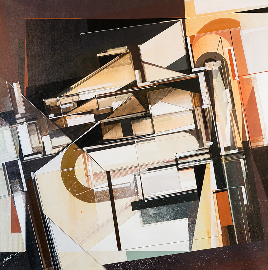 Augustine Kofie -  <strong>Inventorium 2</strong> (2015<strong style = 'color:#635a27'></strong>)<bR /> acrylic polymer and spray paint on primed duck canvas finished in satin gel medium,   48 x 48 inches  (121.92 x 121.92 cm)