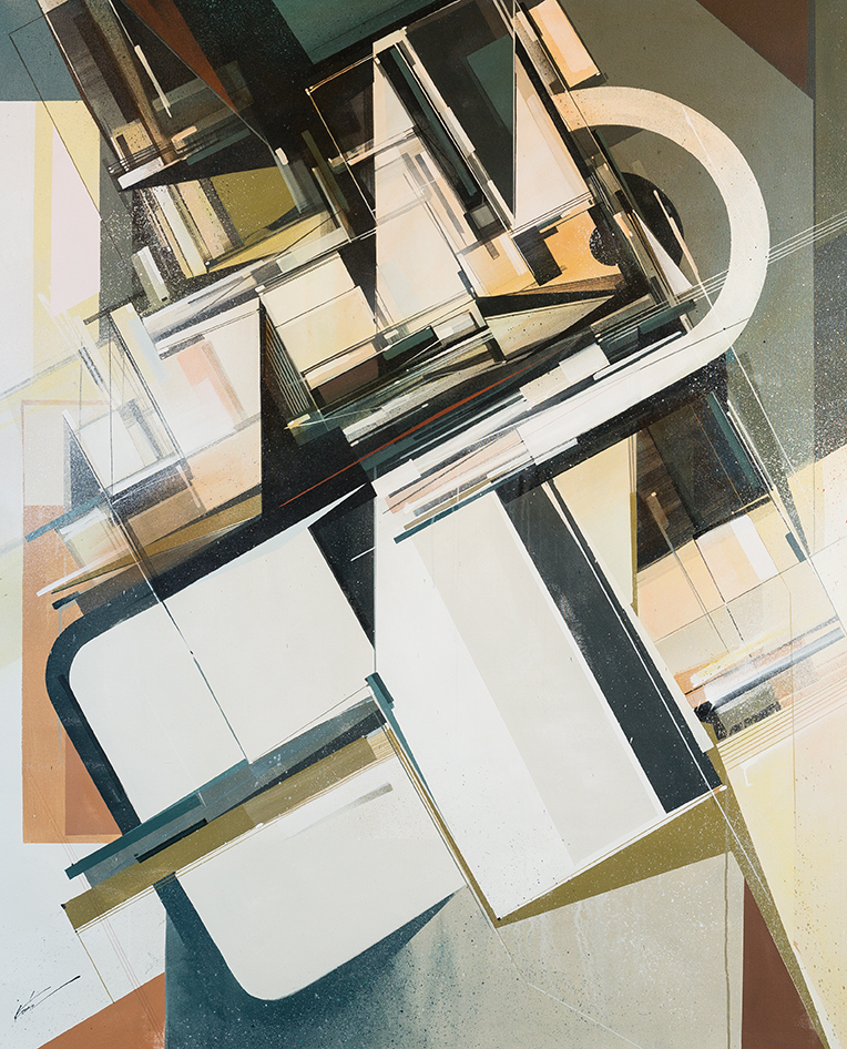 Augustine Kofie -  <strong>Inventorium 3</strong> (2015<strong style = 'color:#635a27'></strong>)<bR /> acrylic polymer and spray paint on primed duck canvas finished in satin gel medium,   48 x 60 inches  (121.92 x 152.4 cm)
