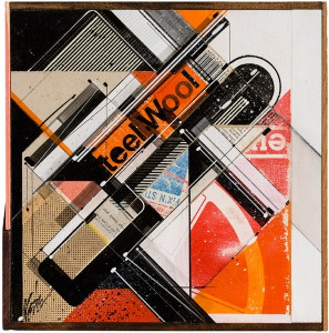 """Augustine Kofie -  <strong>INVENTORYstøries No. 04</strong> (2015<strong style = 'color:#635a27'></strong>)<bR /> found pressboard, acrylic, pencil, ball point pen, white-out and screen print on cradled birch panel finished in archival varnish and satin finish.  Framed in mahogany lattice and found vintage yardsticks,   10.5 x 10.5 x 1 5/8 inch  (26.67 x 26.67 x 4.12 cm)<br type=""""_moz"""" />"""