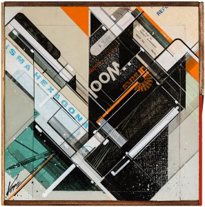 "Augustine Kofie -  <strong>INVENTORYstøries No. 13</strong> (2015<strong style = 'color:#635a27'></strong>)<bR /> found pressboard, acrylic, pencil, ball point pen, white-out and screen print on cradled birch panel finished in archival varnish and satin finish.  Framed in mahogany lattice and found vintage yardsticks,   10.5 x 10.5 x 1 5/8 inch  (26.67 x 26.67 x 4.12 cm)<br type=""_moz"" />"