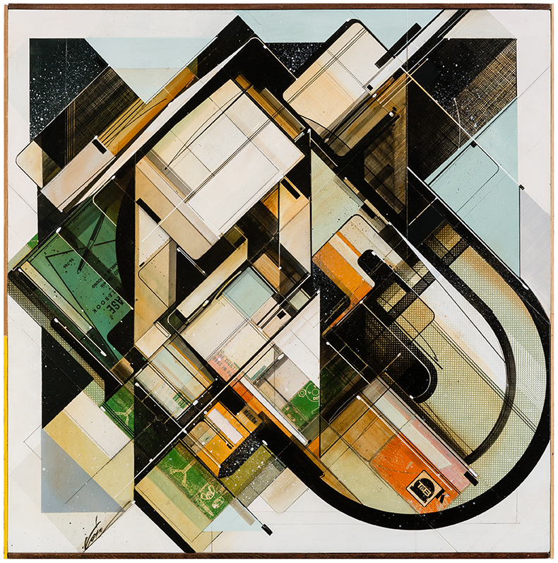 Augustine Kofie -  <strong>Modern space-age complex</strong> (2015<strong style = 'color:#635a27'></strong>)<bR /> found pressboard, acrylic, pencil, ball point pen, white-out and screen print on cradled birch panel finished in archival varnish and satin finish.  Framed in mahogany lattice and found vintage yardsticks,   24 x 24 x 1 5/8 inch  (60.96 x 60.96 x 4.12 cm)