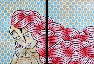 Stephan  Doitschinoff -  <strong>Ave Maria</strong> (2008<strong style = 'color:#635a27'></strong>)<bR /> Acrylic on Canvas,   Diptych,   40 x 30 inches each