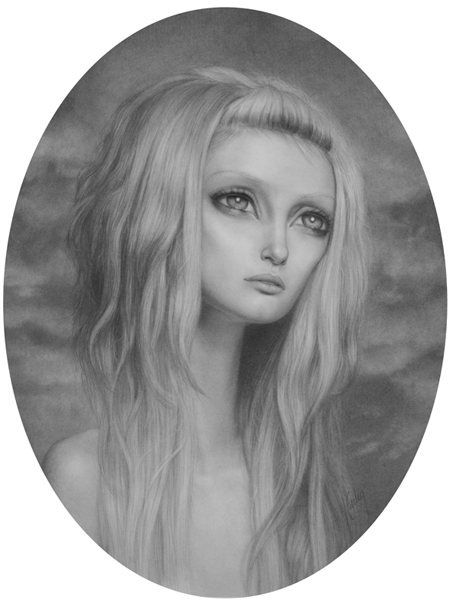 Lori  Earley -  <strong>Awaiting</strong> (2007<strong style = 'color:#635a27'></strong>)<bR /> Graphite on paper,   Image size: 16 x 12 inches,   Framed size: 22 1/2 x 18 1/2 inches
