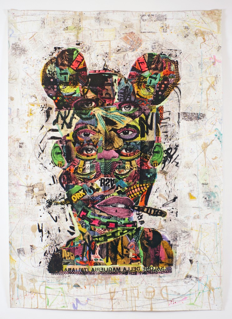 BAST -  <strong>GPO</strong> (2013<strong style = 'color:#635a27'></strong>)<bR /> silkscreen, acrylic, coffee stains, crayons, graphite and paper on canvas 90 x 65 in.