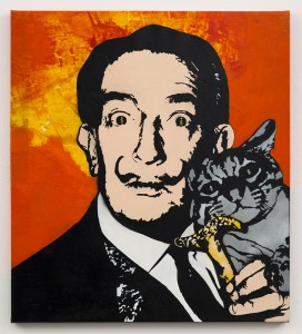 Blek le Rat  &nbsp -  <strong>Avida Dollars</strong> (2013<strong style = 'color:#635a27'></strong>)<bR /> spray paint on canvas,   40 x 36 inches  (101.60 x 91.44 cm)