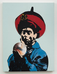 Blek le Rat    -  <strong>Crystal Ball</strong> (2013<strong style = 'color:#635a27'></strong>)<bR /> spray paint on canvas,   40 x 30 inches  (101.6 x 76.2 cm)