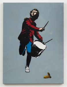 Blek le Rat    -  <strong>Drummer</strong> (2013<strong style = 'color:#635a27'></strong>)<bR /> spray paint on canvas,   40 x 30 inches  (101.6 x 76.2 cm)