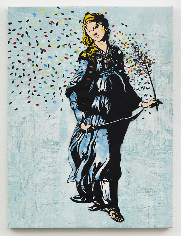 Blek le Rat  &nbsp -  <strong>Femme au Sabre</strong> (2013<strong style = 'color:#635a27'></strong>)<bR /> spray paint on canvas,   40 x 30 inches  (101.6 x 76.2 cm)