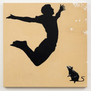 Blek le Rat    -  <strong>Le Grand Saut</strong> (2013<strong style = 'color:#635a27'></strong>)<bR /> spray paint on canvas,   40 x 40 inches  (101.6 x 101.6 cm)