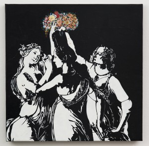 Blek le Rat    -  <strong>Les Trois Graces</strong> (2013<strong style = 'color:#635a27'></strong>)<bR /> spray paint on canvas,   38 x 38 inches  (96.52 x 96.52 cm)