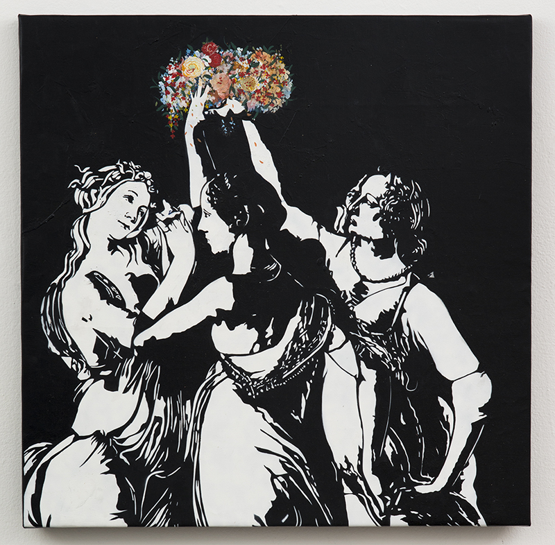 Blek le Rat  &nbsp -  <strong>Les Trois Graces</strong> (2013<strong style = 'color:#635a27'></strong>)<bR /> spray paint on canvas,   38 x 38 inches  (96.52 x 96.52 cm)